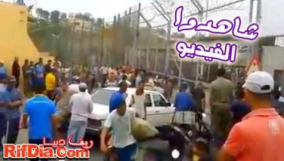 """بالفيديو: السلطات الإسبانية بمليلية تغلق معبر """"فرخانة"""" لأسباب مجهولة"""