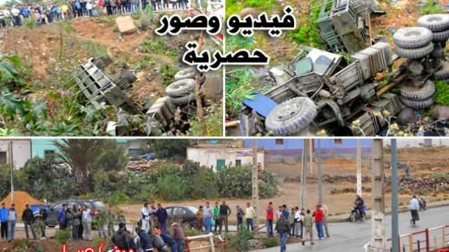 بسبب السرعة.. انقلاب شاحنة عسكرية بفرخانة والحصيلة قتيل و13 جريحاً (فيديو وصور حصرية)