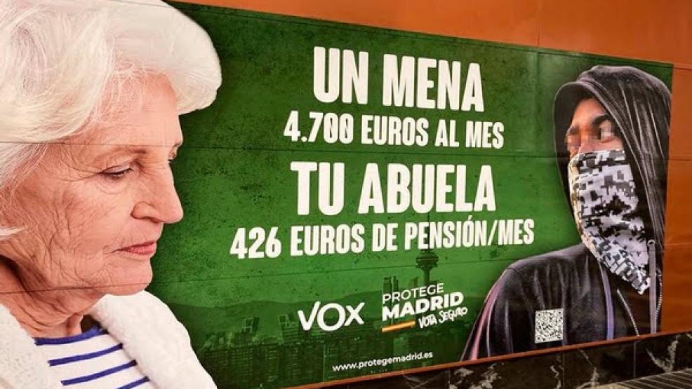 اليمين المتطرف الإسباني يثير الجدل بملصق انتخابي عنصري ضد المهاجرين القُصّر