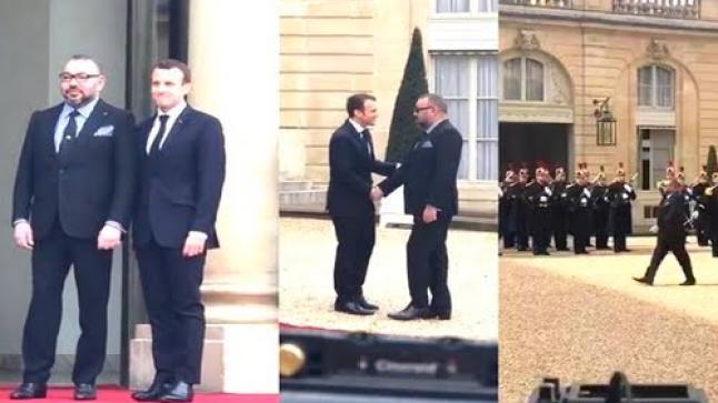 الرئيس الفرنسي إيمانويل ماكرون يستقبل الملك محمد السادس في قصر الاليزيه (فيديو)