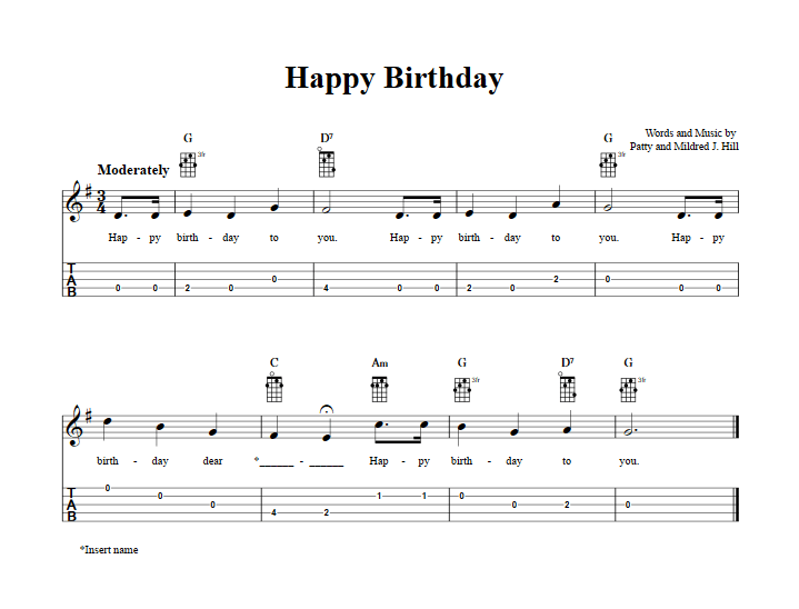 Happy Birthday Piano Chords