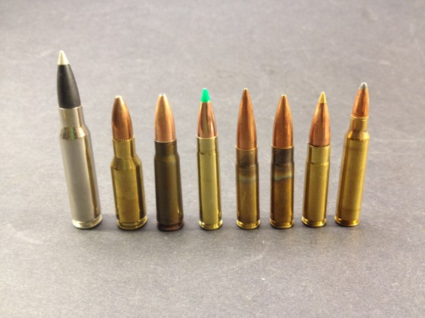Left to right: 308 Winchester, 30 AR, 7.62x39, 7.62x40WT, 300 AAC Blackout 125 OTM, 300 AAC Blackout 220 OTM (subsonic), 300 AAC Blackout 125 Accutip, and 5.56x45mm