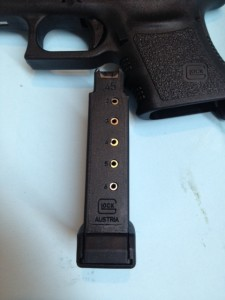 The Glock 36 single stack magazine looks quite a bot different than other Glock magazines.