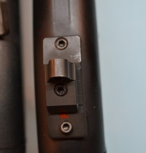 The Scattergun Technologies rear sight is secured on the sight base with a single screw.