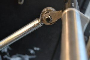 Once the barrel has been cut and crowned, it is secured in a barrel vise and then an action wrench is used to torque the barrel into place.