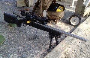 We installed a Jewel trigger, dropped the action into the stock and torqued both screws.  A Leupold Mark 4 4.5-14 X 50 scope was attached on a badger base and rings.  A Harris BR bipod was attached to the stock.