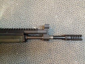 The gas block is installed on the barrel with the Ultimak scout rail and lower handguard to verify alignment.