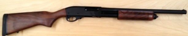 """This is our stock Remington 870 Police as provided.  Walnut stock, parkerized finish, and 18"""" bead sight barrel."""