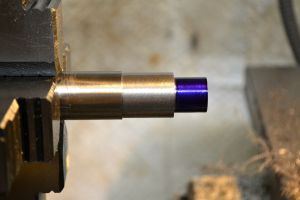 The threaded tenon is coated in Dykem.
