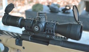A Leupold Mark 6, 3-18X44mm front focal plane scope secured on a Spuhr Ideal scope mount.