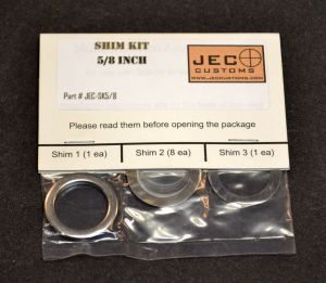 The optional JEC Customs shim kit for timing the brake on preexsisting installations.