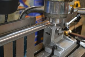 """A PTG 10-tooth 3/16"""" (3/32"""" radius) fluting cutter is secured in a collet."""