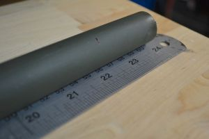 "I'll be cutting the barrel back to 22"".  I mark the desired length on the barrel and cut on the waste side of the mark."