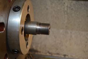 I use a 60-degree high-speed steel insert tool to cut the threads at 18 teeth-per-inch.
