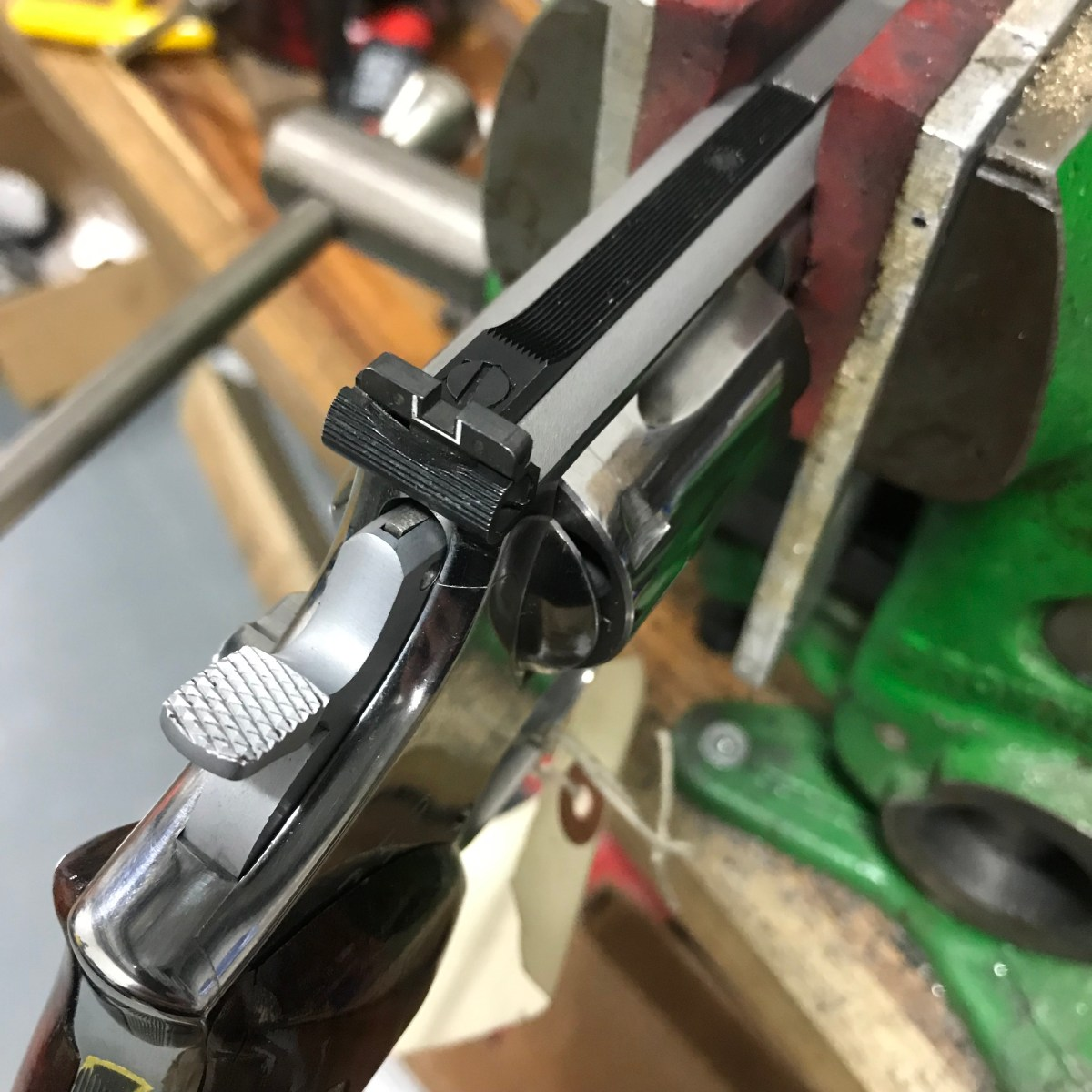 Changing the rear sight blade on a Smith and Wesson revolver