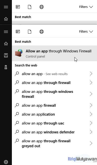 Buka Firewall Pilih Allow An App Through Windows Firewall