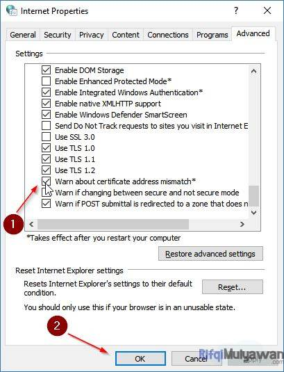 Gambar Screenshoot Menghilangkan Centang Warn About Certificate Address Mismatch Pada Internet Options Dalam Cara Mengatasi SEC_ERROR_UNKNOWN_ISSUER