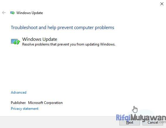 Gambar Screenshoot Windows Update Troubleshooter Sebagai Cara Untuk Mengatasi Windows Update Error