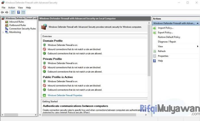 Pada Windows Firewall With Advanced Security Pilih Inbound Rules
