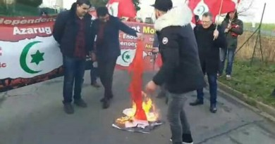 Burning of portrait of Mohammed VI and the Moroccan flag in Betz/Paris by Riffian republicans!