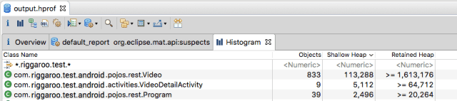 Filter objects by class name in Eclipse Memory Analyzer