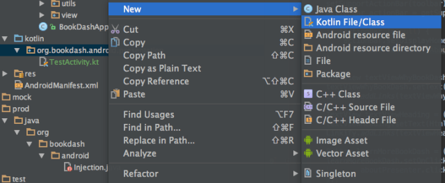 How to Add new Kotlin class file in Android Studio