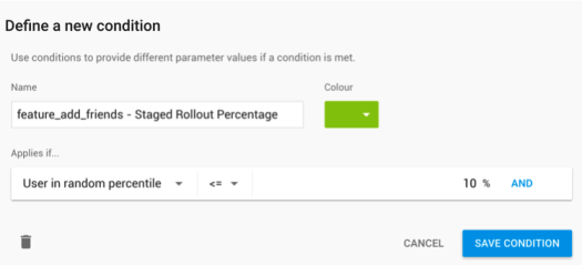 Staged Rollout percentage in Firebase Conditional