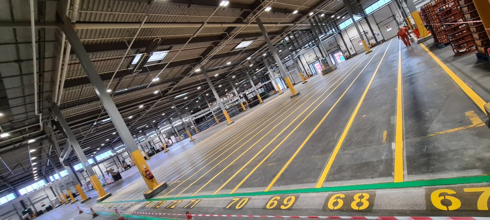 Warehouse Line Markings in Atherstone Distribution Centre