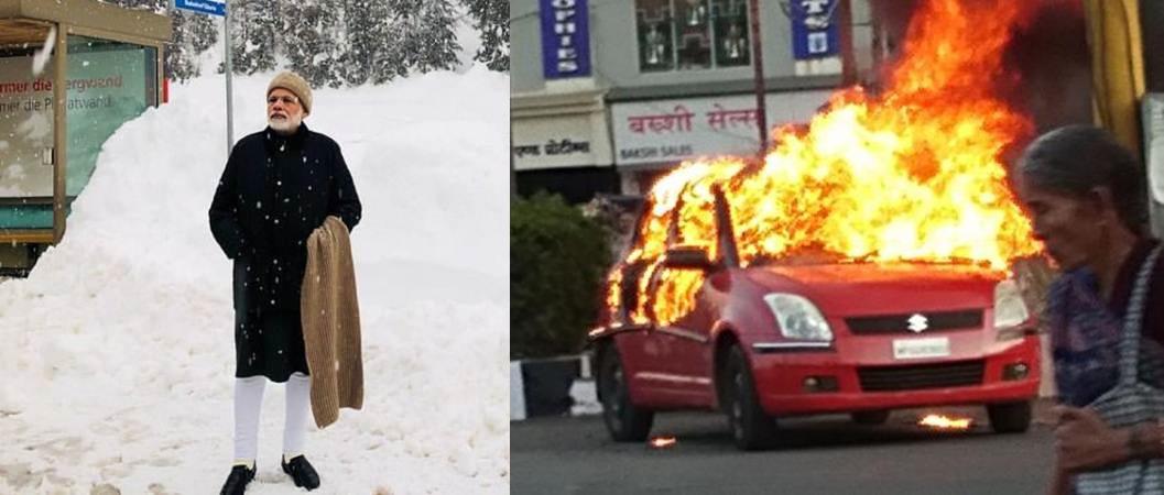 Modi in Davos, India in Chaos