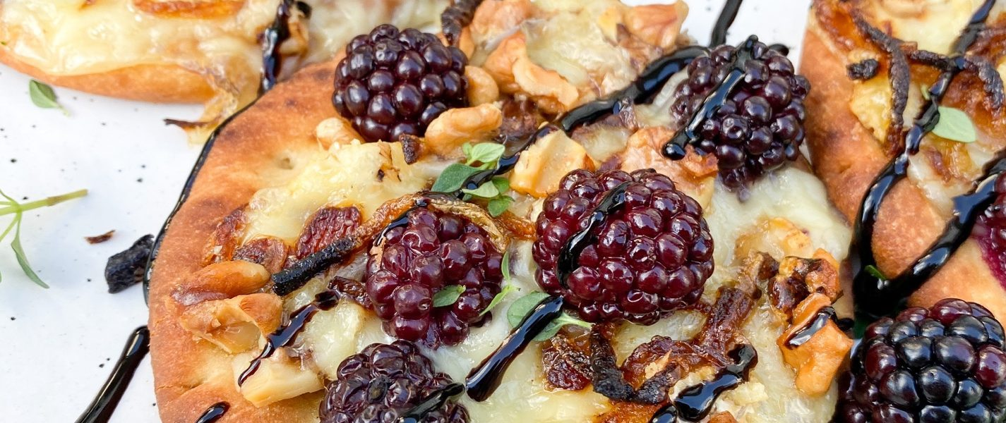 The Best Cheesy Mini Blackberry Brie Naan Pizzas
