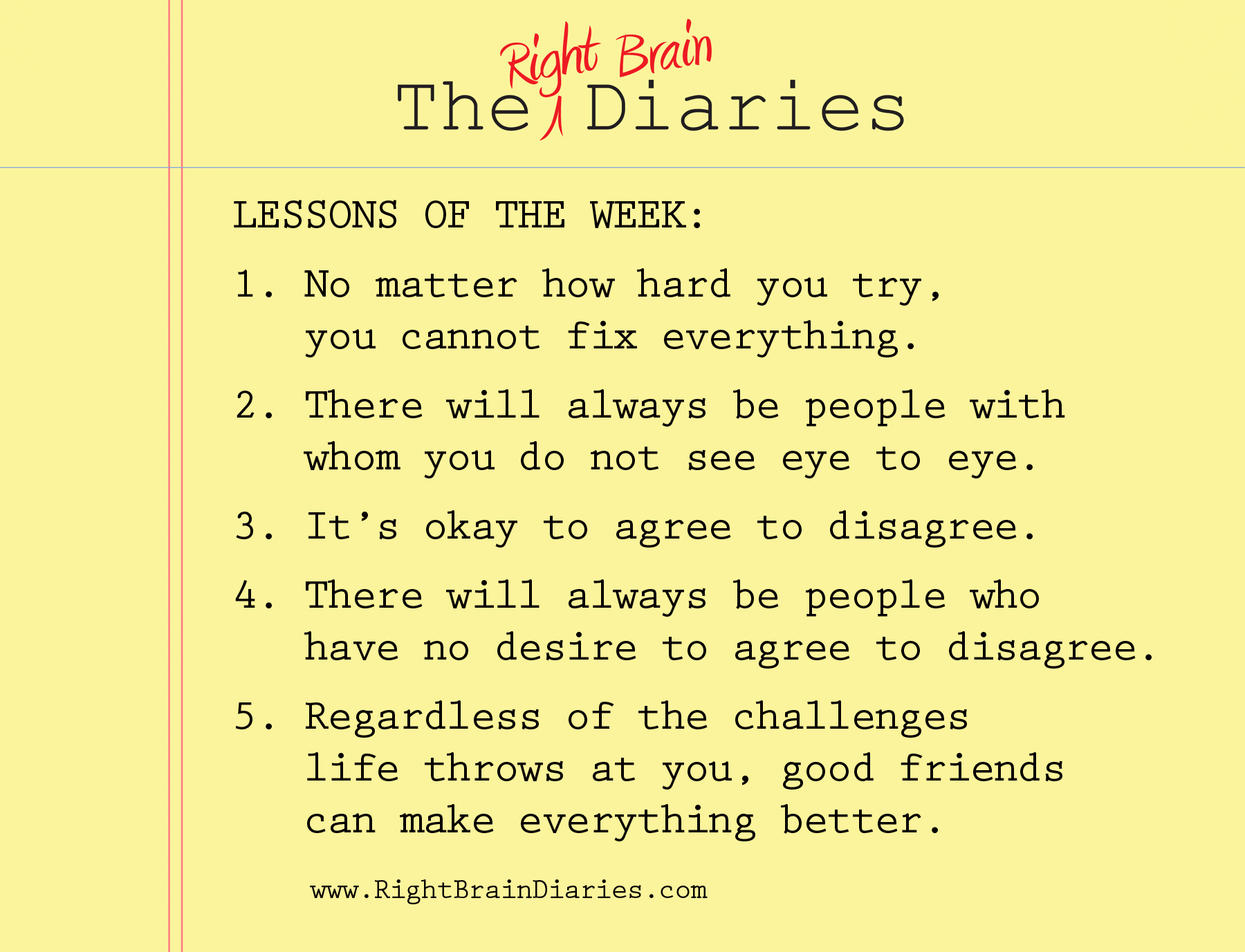 Lessons of the week