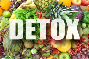Detox text over assorted fruits and vegetables