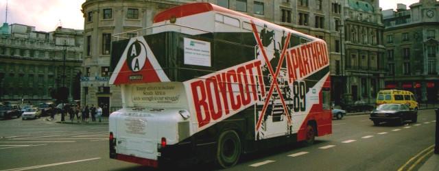 Boycott Apartheid campaign bus, London 1989, R Barraez D'Lucca