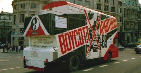 Boycott Apartheid campaign bus, London 1989, R Barraez D'Lucca