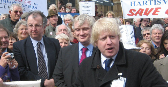 Boris Johnson at hospital demo, March 2006 by John Hemming