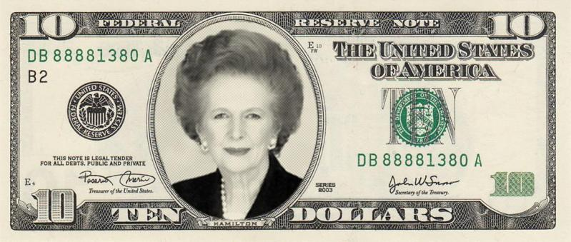 Margaret Thatcher on US $10 bill by Al Jazeera