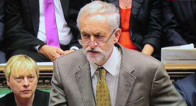Jeremy Corbyn at prime minister's questions, BBC via David Holt
