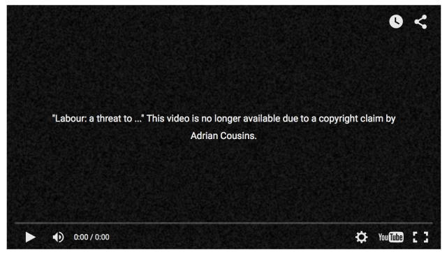 Tory attack video taken down by Adrian Cousins