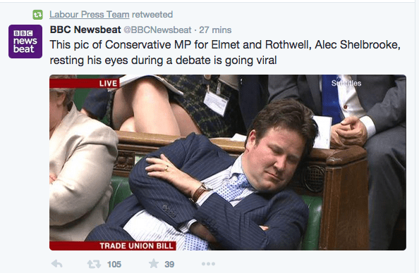 Alec Shelbrooke apparently sleeping from BBC