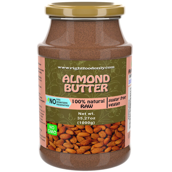 Almond Butter 1 kg   Nut Butter Free of Sugar   Almond Spread 100% Natural   Vegan Superfood   Low Carb Nut Butter   KETO