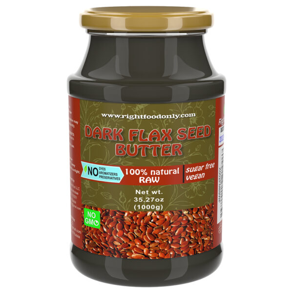 Dark Flax Seed Butter | Non-GMO Urbech | Sugar Free | One Ingredient | Great Source of Omega 3 6 9 | 100% Superfood