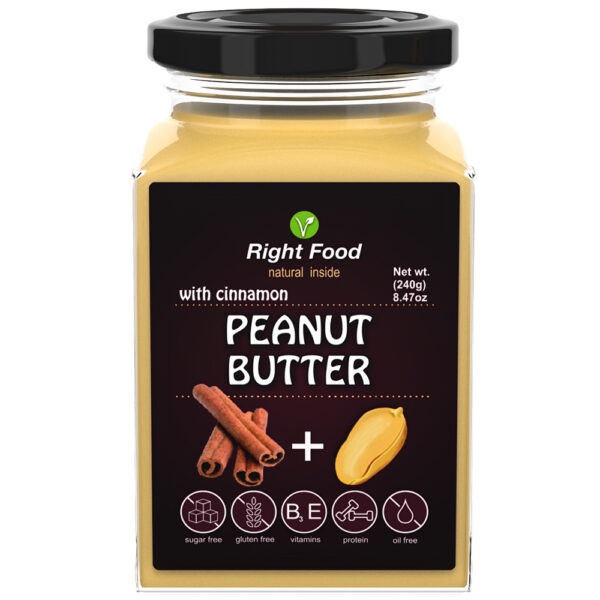 Peanut Butter with Cinnamon 240g   Keto Butter   No Sugar Added   Vegetable Protein   Vegan Superfood. Free delivery within 3-7 days.