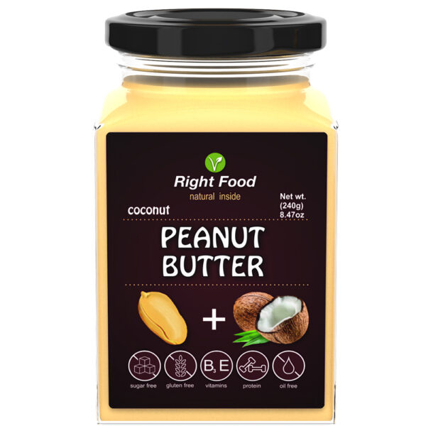 Peanut Butter with Coconut 240g   Keto Butter   No Sugar Added   Vegetable Protein   Vegan Superfood