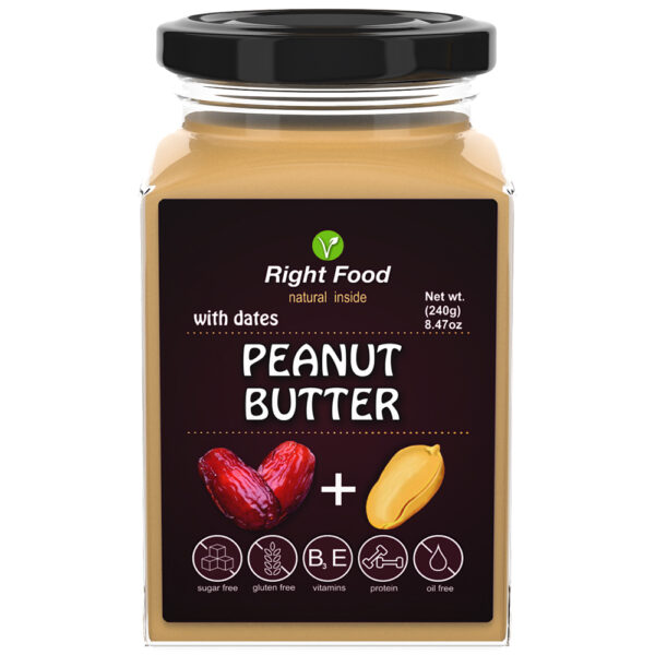 Peanut Butter with Dates Urbech 240g   Keto Butter   No Sugar Added   Vegetable Protein   Vegan Superfood