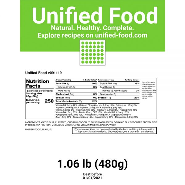 U Food - Unified Food - 1 Pack (1.06 lb) Nutritionally Complete Food 1