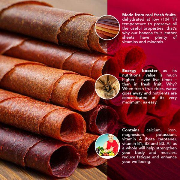RAW Vegan Fruit Leather 10.6 oz (300 g) - Papaya Dehydrated Sheets 2