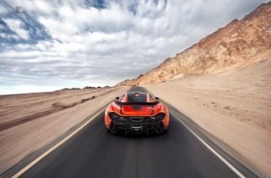 Orange McLaren P1 Accelerating
