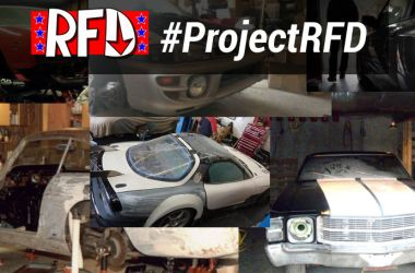 Collage of project cars in garages