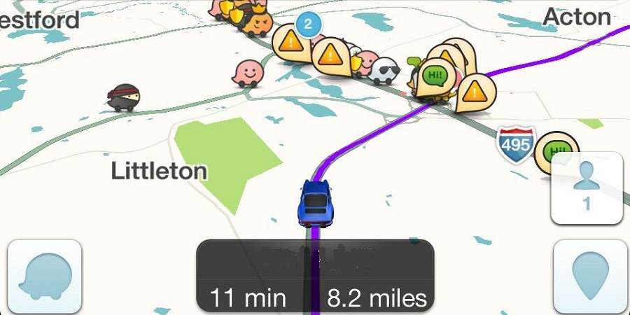 Waze map display