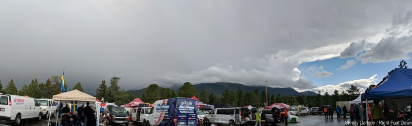 The skies were angry from pit.